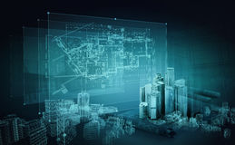 /Planen Gebäudemodell und Entwurfswerkzeuge auf Bau Stockbilder