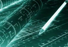 /Planen Gebäudemodell und Entwurfswerkzeuge auf Bau Plangrundrisse mit Bleistift stock abbildung