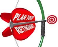 Planen Sie Ihre Ruhestands-Bogen-Pfeil-Ziel-Sparguthaben Stockbilder