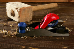 Planer carpenter hand tool wood shaving Royalty Free Stock Images