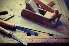 PLANER and chisels and other tools in the ancient workshop Stock Image