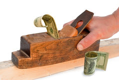 Planer, jointer,money, dollar, - concepts. Stock Photos
