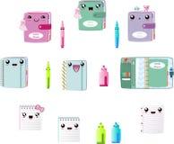 Planer Kawaii netter Clipart-Vektor ENV, Notizbuch, Stift, Markierung, Buch mit Quaste und Papierklammern lizenzfreie abbildung