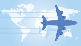 Planer plat au-dessus de la carte du monde Illustration de vecteur Image libre de droits