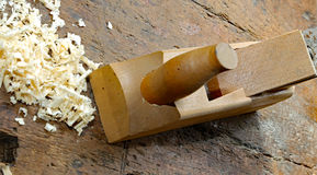 Planer with sawdust on the Workbench Royalty Free Stock Photography