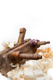 Planer with wooden chips, wood shavings Royalty Free Stock Images