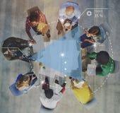 Planera begrepp för idékläckning för framstegdiskussionsstrategi arkivfoton