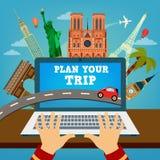 Planera din tur Loppbaner Semesterplanläggning royaltyfri illustrationer