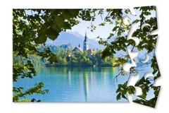 Planera en tur till den bl?dde sj?n, den mest ber?mda sj?n i Slovenien med ?n av den kyrkliga Europa - Slovenien - begreppsmage i arkivfoto