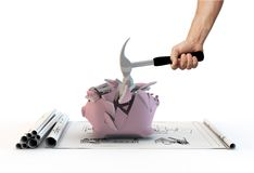 Planera och moneybox arkivfoton