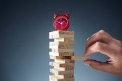 Planera, risk- och strategistopptidtid i affär arkivfoto