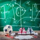 Planera seger matchen i fotboll Royaltyfri Fotografi