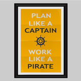 Planera som en kapten Work Like en piratkopiera Arkivfoto