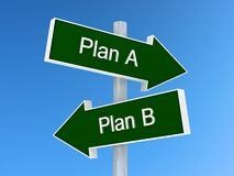 Planera A vs tecken för plan B Först eller andra primaa begrepp Arkivfoton