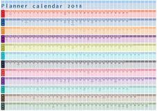Planerkalender 2018, -organisator und -zeitplan mit Feiertagstagesgeschriebenem Innere Stockfoto