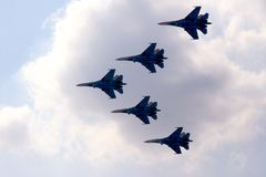 Planes. Modern planes, fighters (Russia, Moscow Royalty Free Stock Photography