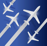 Planes in the air illustration design. Over a blue background Royalty Free Stock Photos