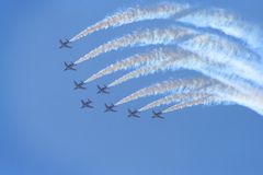 Planes in air show Royalty Free Stock Images