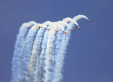 Planes on an air show against clear sky Royalty Free Stock Photo