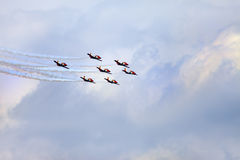 Planes on an air show against clear sky Royalty Free Stock Photos