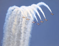 Planes on an air show against clear sky Stock Photo