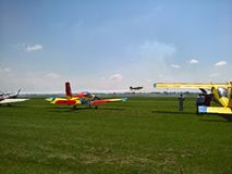 Planes at the Air Show. Team planes taking off at an air show. Ciolpani Air Show, Romania Stock Photo