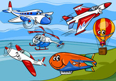 Planes aircraft group cartoon illustration Stock Image