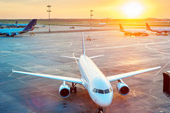 Planes at airport Stock Photos