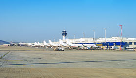 Planes in the airport. Royalty Free Stock Images