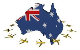 Planes and Australia map flag. Abstract planes flying around Australia map flag illustration Royalty Free Stock Images
