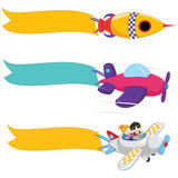 Planes With Banners Vector Set Royalty Free Stock Images