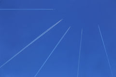 Planes in the blue sky Royalty Free Stock Photos