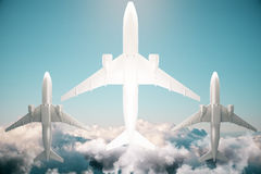 Planes bottom view Royalty Free Stock Images