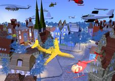 Planes in the city. Thousands of planes and helicopters are flying over a small historical city, bright colors over a blue background, 3D illustration, raster Stock Images