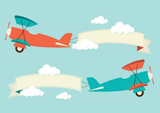Planes in the clouds. With banners Stock Image