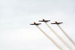planes in cloudy sky Royalty Free Stock Images