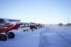Planes covered in snow Stock Photos