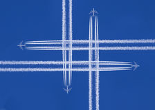 planes that cross in the sky royalty free stock photos