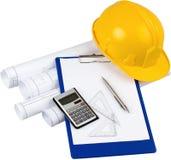 Planes de la construcción, calculadora, Setquares, pluma imagenes de archivo