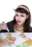 Planes de viaje del dibujo en un mapa Fotografía de archivo libre de regalías