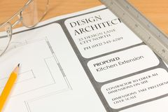 Planes del arquitecto para la nueva cocina Fotografía de archivo