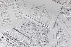 Planes del edificio Proyecto arquitectónico El plan de piso diseñó el edificio en el dibujo El dirigir y dibujo técnico, parte de fotos de archivo libres de regalías