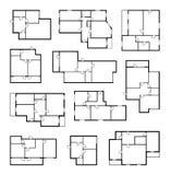 Planes del vector del apartamento, modelo arquitectónico del proyecto stock de ilustración