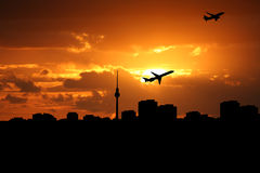 Planes departing Berlin Stock Photo