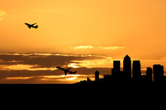 Planes departing docklands Royalty Free Stock Photo