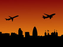 Planes departing London. At sunset illustration Royalty Free Stock Photography