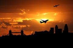 Planes departing London. At sunset illustration Stock Image