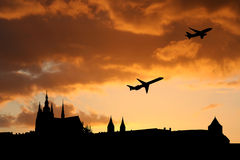 Planes departing Prague Royalty Free Stock Images