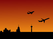 Planes departing San Antonio. San Antonio skyline at sunset with departing planes stock illustration