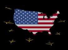 Planes departing USA map flag Stock Photos